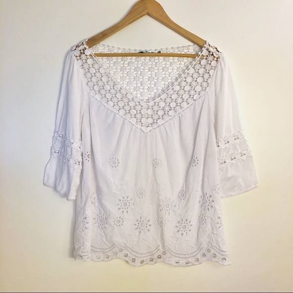 3/$15🌸| Solitaire White Peasant Top